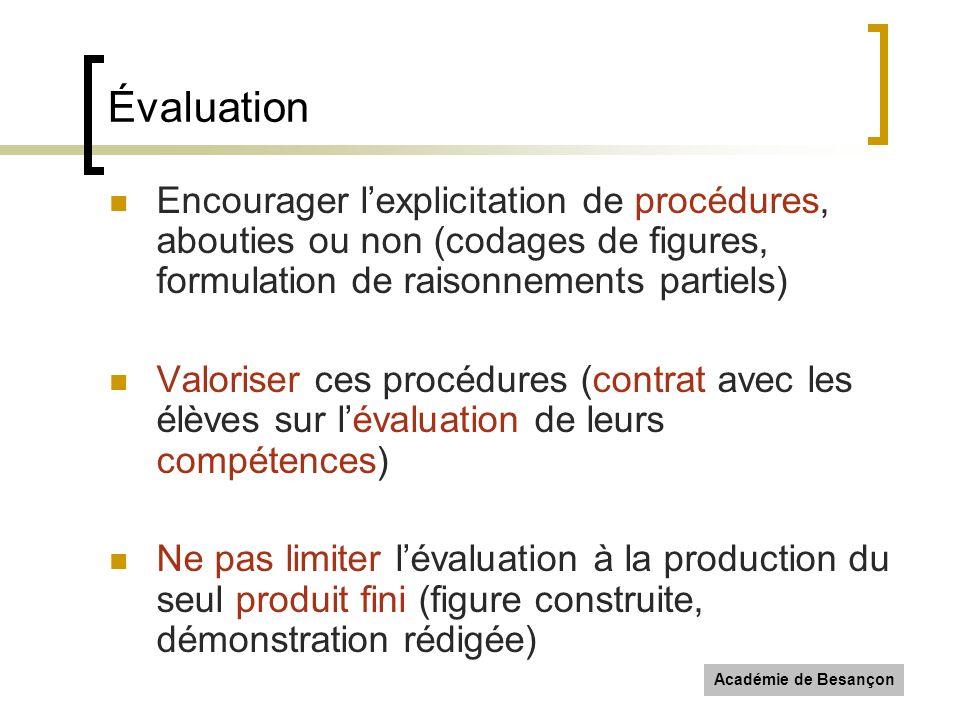 Académie de Besançon Évaluation Encourager lexplicitation de procédures, abouties ou non (codages de figures, formulation de raisonnements partiels) V