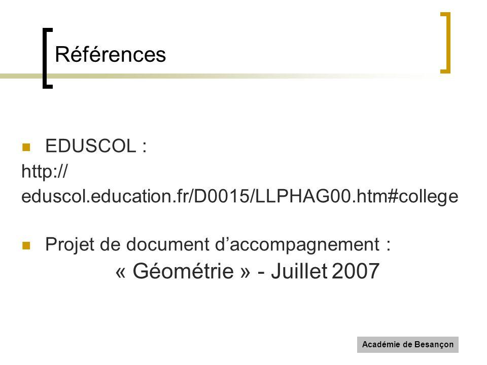 Académie de Besançon Références EDUSCOL : http:// eduscol.education.fr/D0015/LLPHAG00.htm#college Projet de document daccompagnement : « Géométrie » -