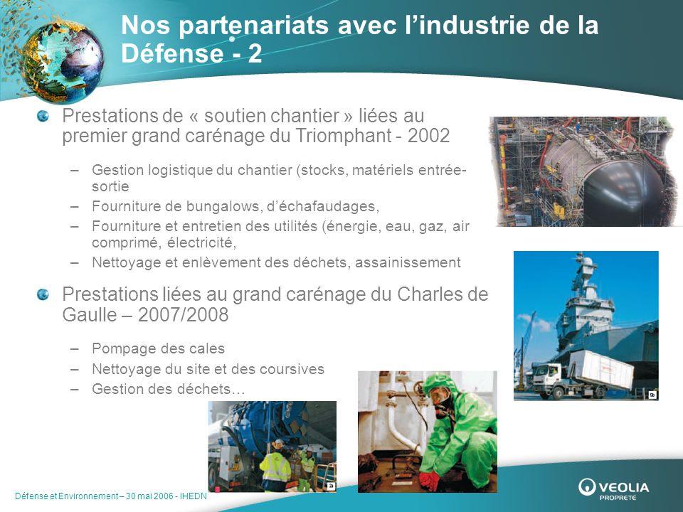 Défense et Environnement – 30 mai 2006 - IHEDN Nos partenariats avec lindustrie de la Défense - 2 Prestations de « soutien chantier » liées au premier