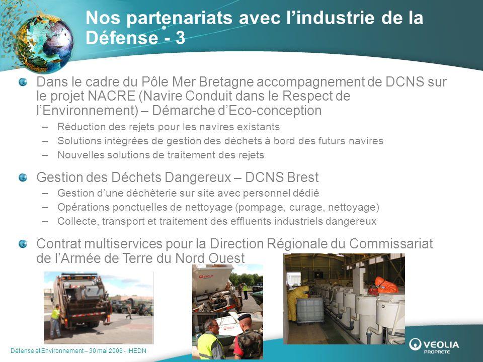 Défense et Environnement – 30 mai 2006 - IHEDN Nos partenariats avec lindustrie de la Défense - 3 Dans le cadre du Pôle Mer Bretagne accompagnement de