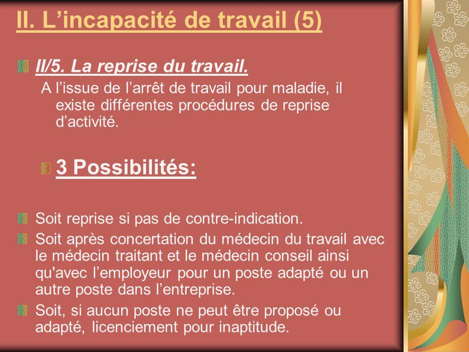 II/5. La reprise du travail. A lissue de larrêt de travail pour maladie, il existe différentes procédures de reprise dactivité. 3 Possibilités: Soit r
