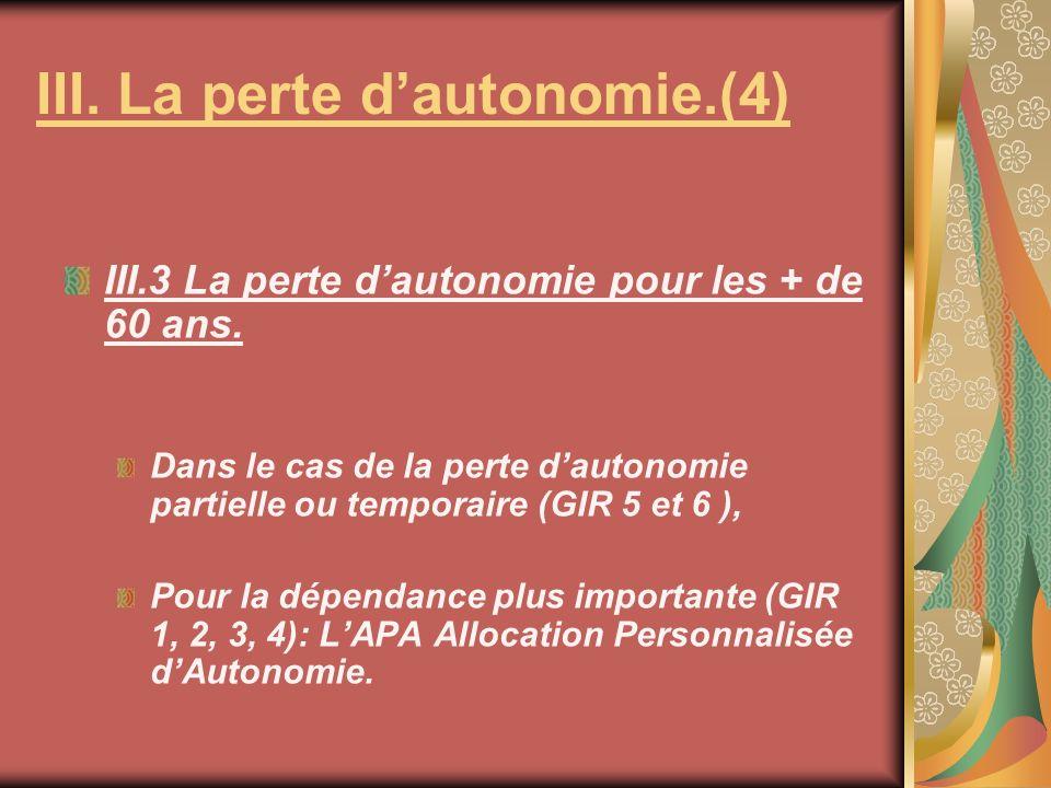 III.3 La perte dautonomie pour les + de 60 ans. Dans le cas de la perte dautonomie partielle ou temporaire (GIR 5 et 6 ), Pour la dépendance plus impo