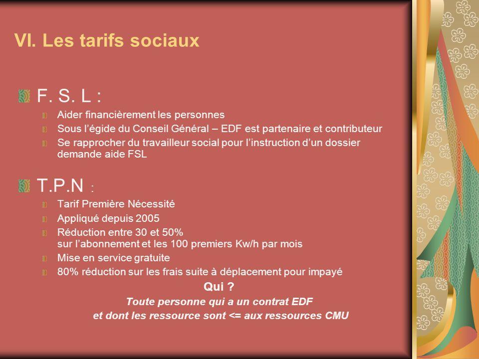 F. S. L : Aider financièrement les personnes Sous légide du Conseil Général – EDF est partenaire et contributeur Se rapprocher du travailleur social p