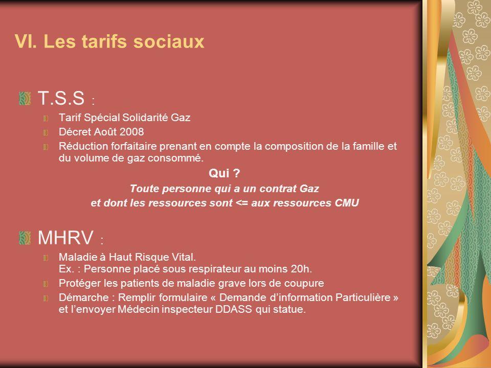 T.S.S : Tarif Spécial Solidarité Gaz Décret Août 2008 Réduction forfaitaire prenant en compte la composition de la famille et du volume de gaz consommé.