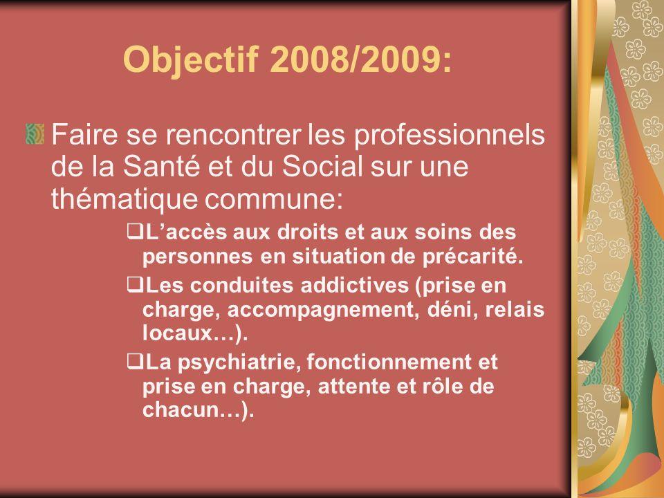 Objectif 2008/2009: Faire se rencontrer les professionnels de la Santé et du Social sur une thématique commune: Laccès aux droits et aux soins des per