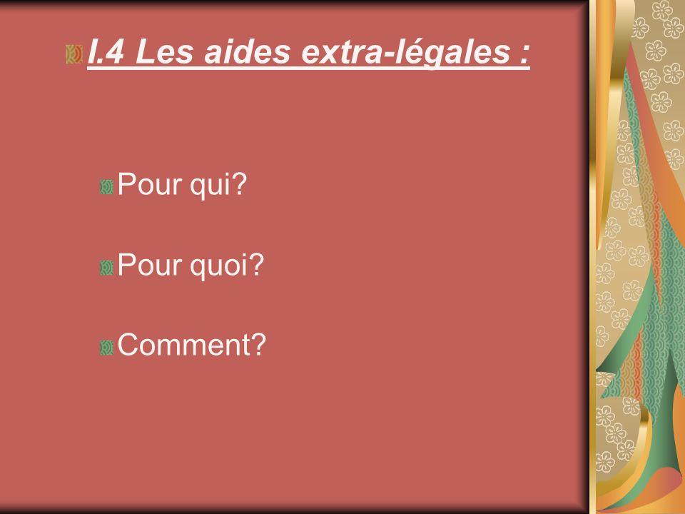 I.4 Les aides extra-légales : Pour qui? Pour quoi? Comment?