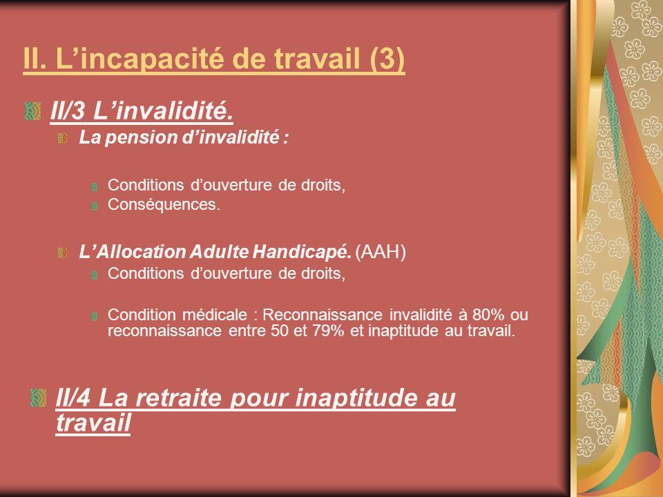 II/3 Linvalidité. La pension dinvalidité : Conditions douverture de droits, Conséquences. LAllocation Adulte Handicapé. (AAH) Conditions douverture de
