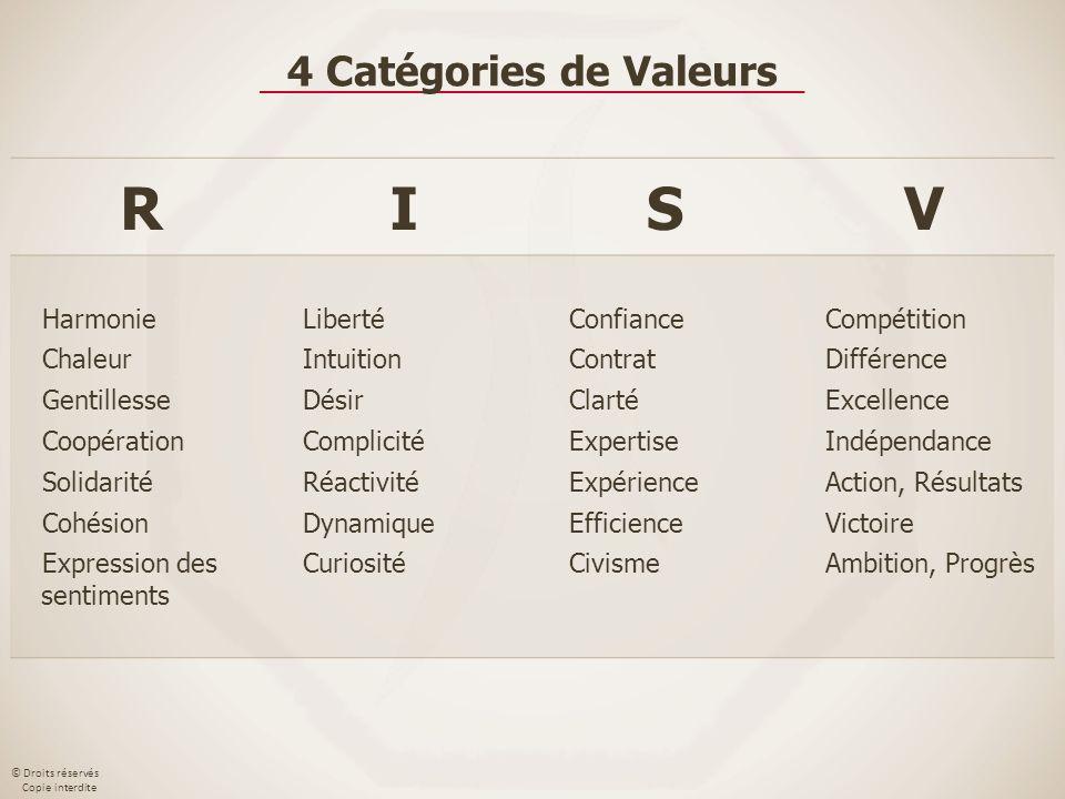 © Droits réservés Copie interdite RISV Harmonie Chaleur Gentillesse Coopération Solidarité Cohésion Expression des sentiments Liberté Intuition Désir