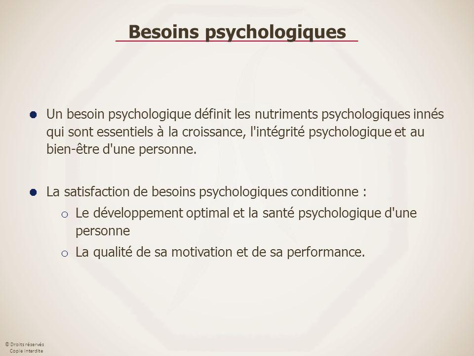 © Droits réservés Copie interdite Besoins psychologiques Un besoin psychologique définit les nutriments psychologiques innés qui sont essentiels à la