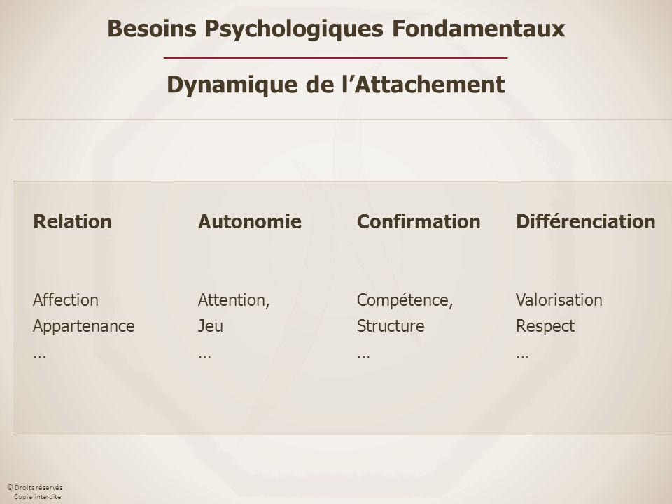 © Droits réservés Copie interdite Relation Affection Appartenance … Autonomie Attention, Jeu … Confirmation Compétence, Structure … Différenciation Va