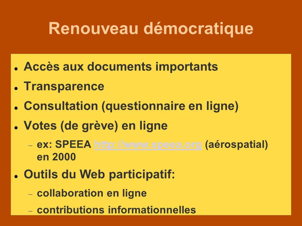 Renouveau démocratique Accès aux documents importants Transparence Consultation (questionnaire en ligne) Votes (de grève) en ligne ex: SPEEA http://www.speea.org (aérospatial) en 2000http://www.speea.org Outils du Web participatif: collaboration en ligne contributions informationnelles