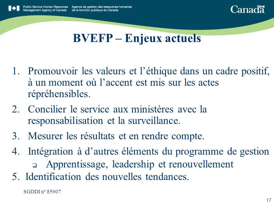 SGDDI n o 85907 17 BVEFP – Enjeux actuels 1.Promouvoir les valeurs et léthique dans un cadre positif, à un moment où laccent est mis sur les actes rép