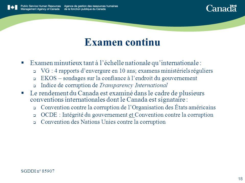 SGDDI n o 85907 18 Examen continu Examen minutieux tant à léchelle nationale quinternationale : VG : 4 rapports denvergure en 10 ans; examens ministér