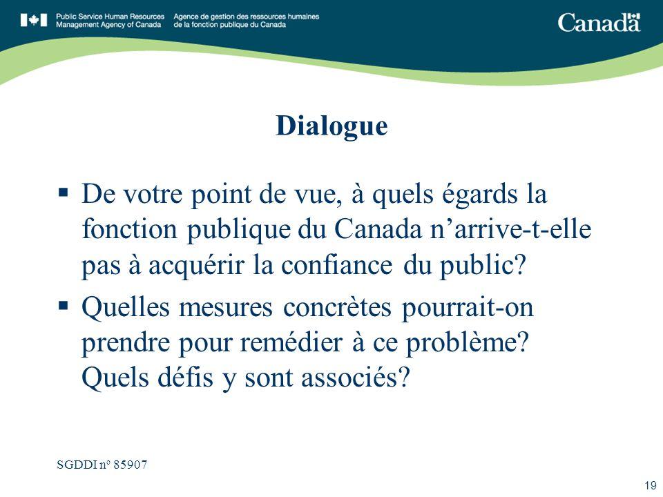 SGDDI n o 85907 19 Dialogue De votre point de vue, à quels égards la fonction publique du Canada narrive-t-elle pas à acquérir la confiance du public?