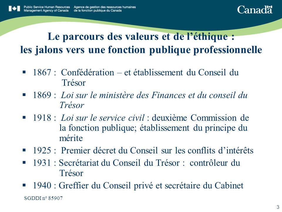 SGDDI n o 85907 3 Le parcours des valeurs et de léthique : les jalons vers une fonction publique professionnelle 1867 : Confédération – et établisseme
