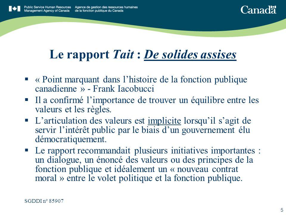 SGDDI n o 85907 5 Le rapport Tait : De solides assises « Point marquant dans lhistoire de la fonction publique canadienne » - Frank Iacobucci Il a con