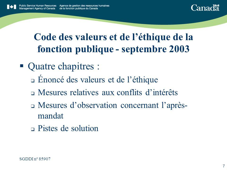 SGDDI n o 85907 7 Code des valeurs et de léthique de la fonction publique - septembre 2003 Quatre chapitres : Énoncé des valeurs et de léthique Mesure