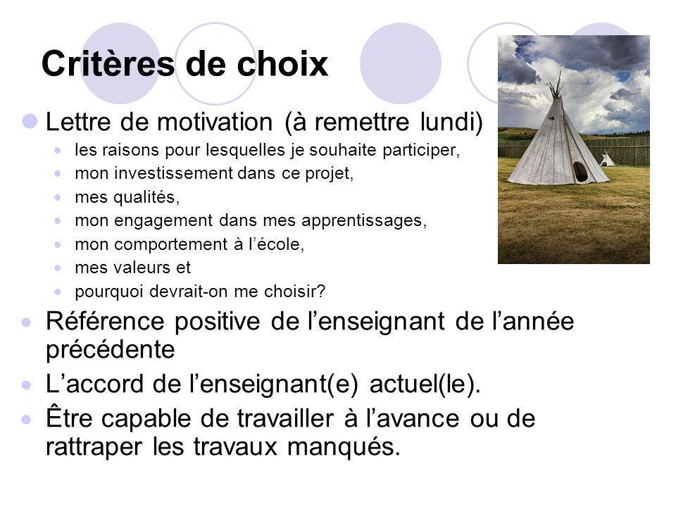 Critères de choix Lettre de motivation (à remettre lundi) les raisons pour lesquelles je souhaite participer, mon investissement dans ce projet, mes q
