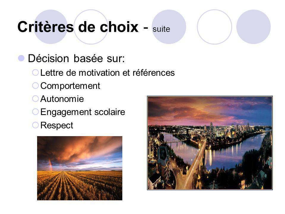 Critères de choix - suite Décision basée sur: Lettre de motivation et références Comportement Autonomie Engagement scolaire Respect