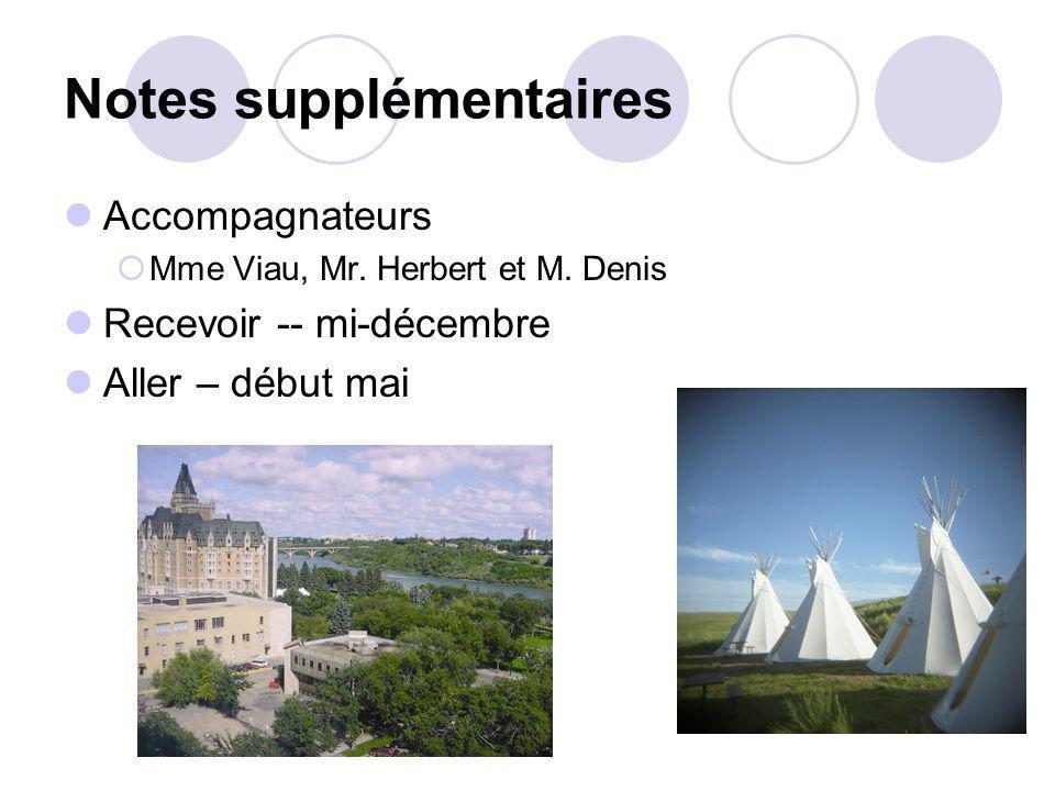Notes supplémentaires Accompagnateurs Mme Viau, Mr. Herbert et M. Denis Recevoir -- mi-décembre Aller – début mai