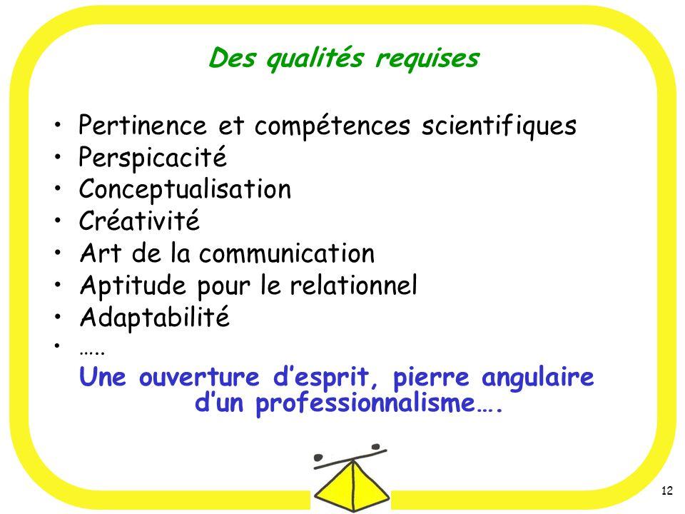 12 Des qualités requises Pertinence et compétences scientifiques Perspicacité Conceptualisation Créativité Art de la communication Aptitude pour le relationnel Adaptabilité …..