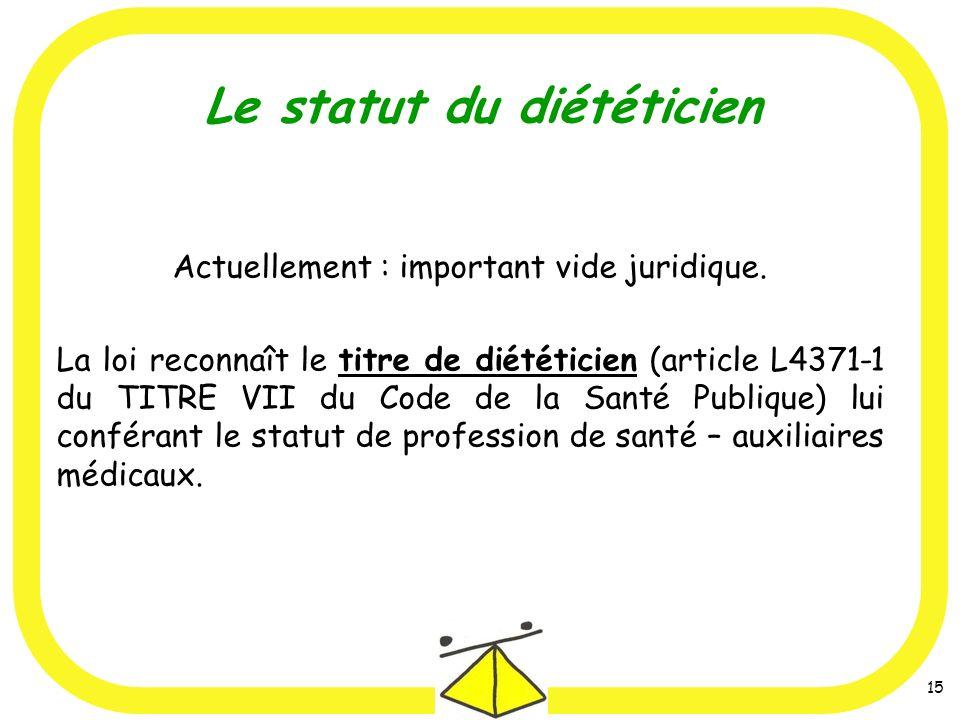15 Actuellement : important vide juridique. La loi reconnaît le titre de diététicien (article L4371-1 du TITRE VII du Code de la Santé Publique) lui c