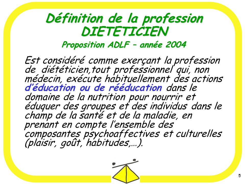 5 Est considéré comme exerçant la profession de diététicien,tout professionnel qui, non médecin, exécute habituellement des actions déducation ou de r