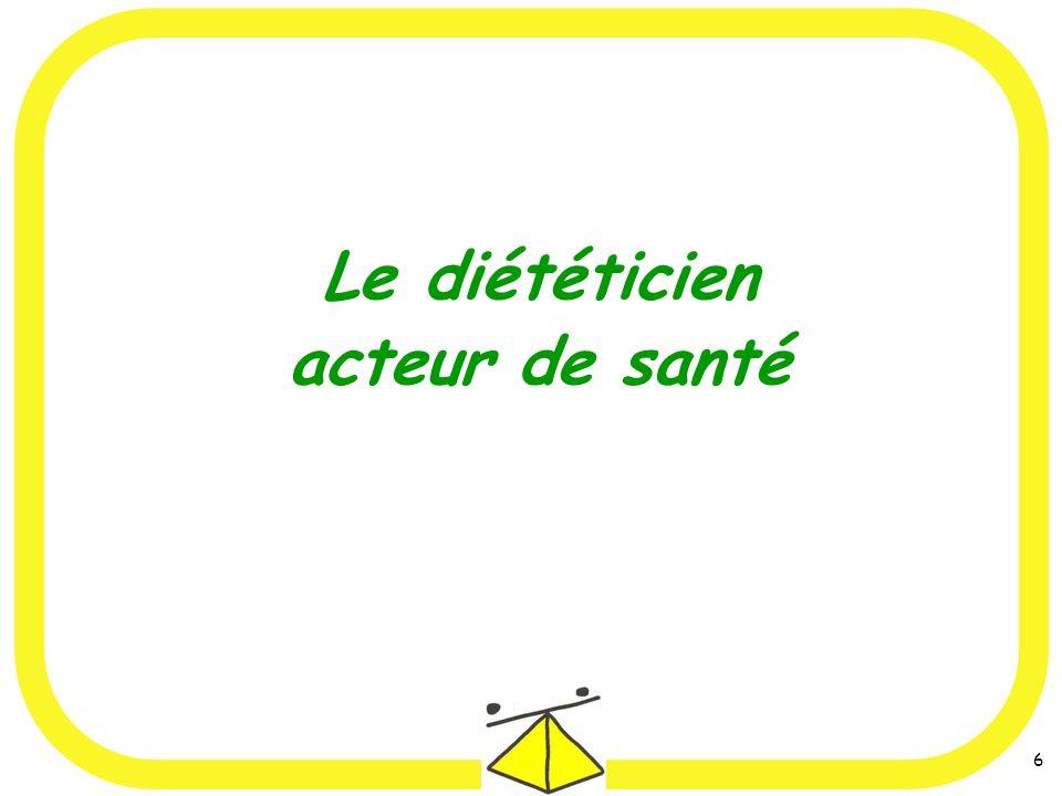 7 Le diététicien : acteur de santé daccompagner état nutritionnel Son objectif est daccompagner toute personne afin de préserver ou daméliorer son état nutritionnel et son état de santé.