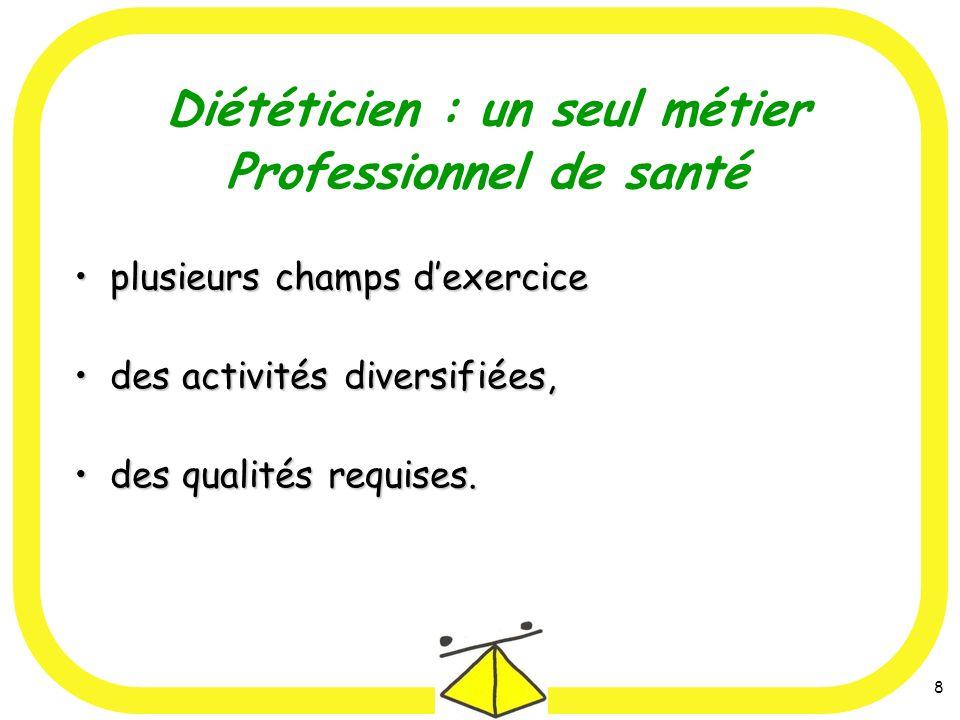 8 Diététicien : un seul métier Professionnel de santé plusieurs champs dexerciceplusieurs champs dexercice des activités diversifiées,des activités diversifiées, des qualités requises.des qualités requises.