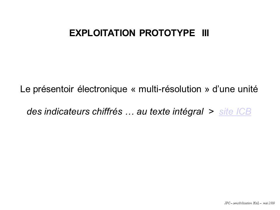 EXPLOITATION PROTOTYPE III Le présentoir électronique « multi-résolution » dune unité des indicateurs chiffrés … au texte intégral > site ICBsite ICB