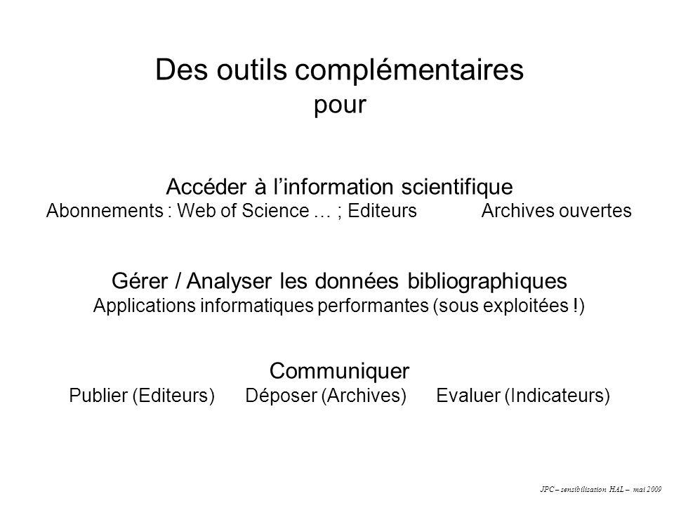 Des outils complémentaires pour Accéder à linformation scientifique Abonnements : Web of Science … ; Editeurs Archives ouvertes Gérer / Analyser les d