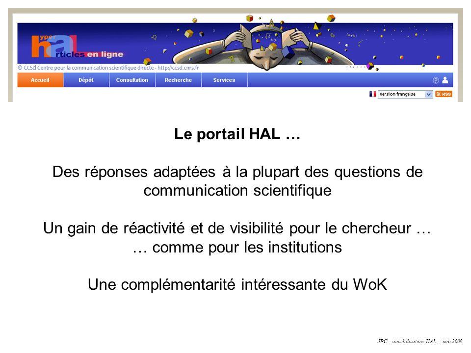 Le portail HAL … Des réponses adaptées à la plupart des questions de communication scientifique Un gain de réactivité et de visibilité pour le cherche