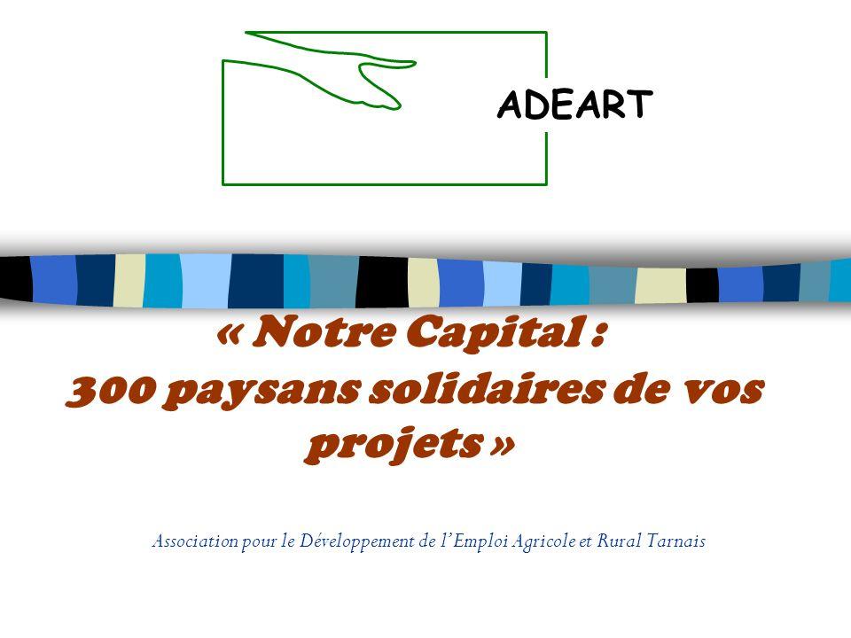 « Notre Capital : 300 paysans solidaires de vos projets » Association pour le Développement de lEmploi Agricole et Rural Tarnais ADEART