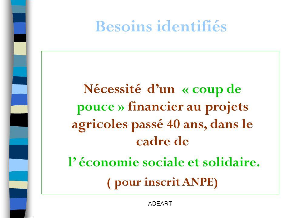 ADEART Besoins identifiés Nécessité dun « coup de pouce » financier au projets agricoles passé 40 ans, dans le cadre de l économie sociale et solidaire.