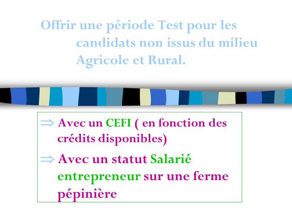 Offrir une période Test pour les candidats non issus du milieu Agricole et Rural.
