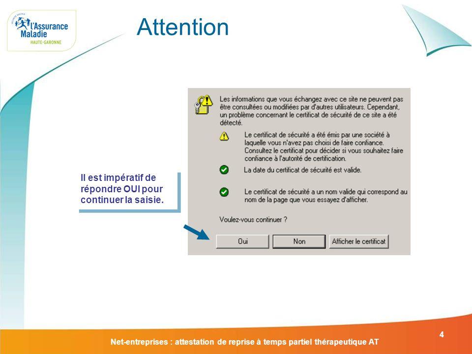 Net-entreprises : attestation de reprise à temps partiel thérapeutique AT 15 Laccusé de dépôt Ce document valide la saisie.