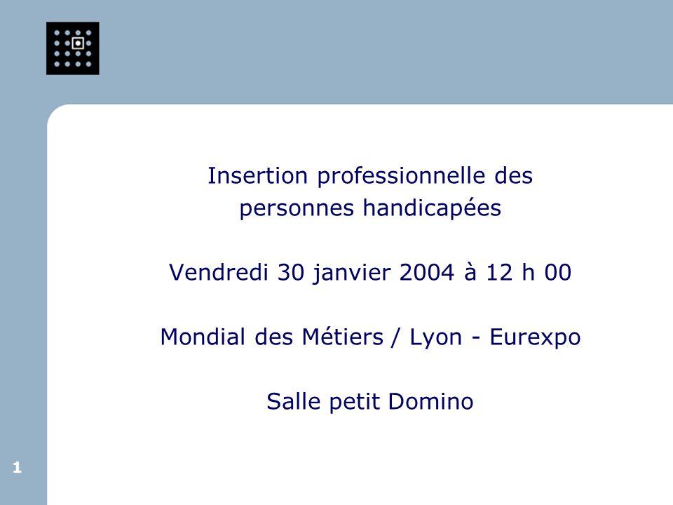 1 1 Insertion professionnelle des personnes handicapées Vendredi 30 janvier 2004 à 12 h 00 Mondial des Métiers / Lyon - Eurexpo Salle petit Domino