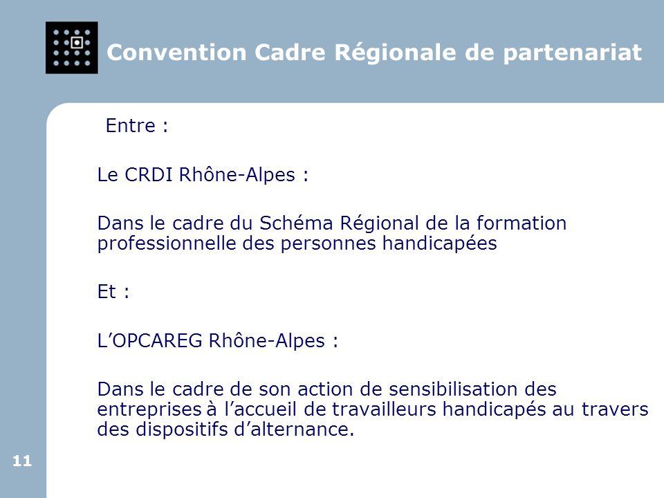 11 Convention Cadre Régionale de partenariat Entre : Le CRDI Rhône-Alpes : Dans le cadre du Schéma Régional de la formation professionnelle des person