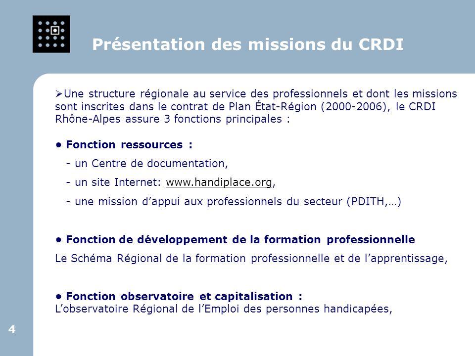 4 4 Une structure régionale au service des professionnels et dont les missions sont inscrites dans le contrat de Plan État-Région (2000-2006), le CRDI