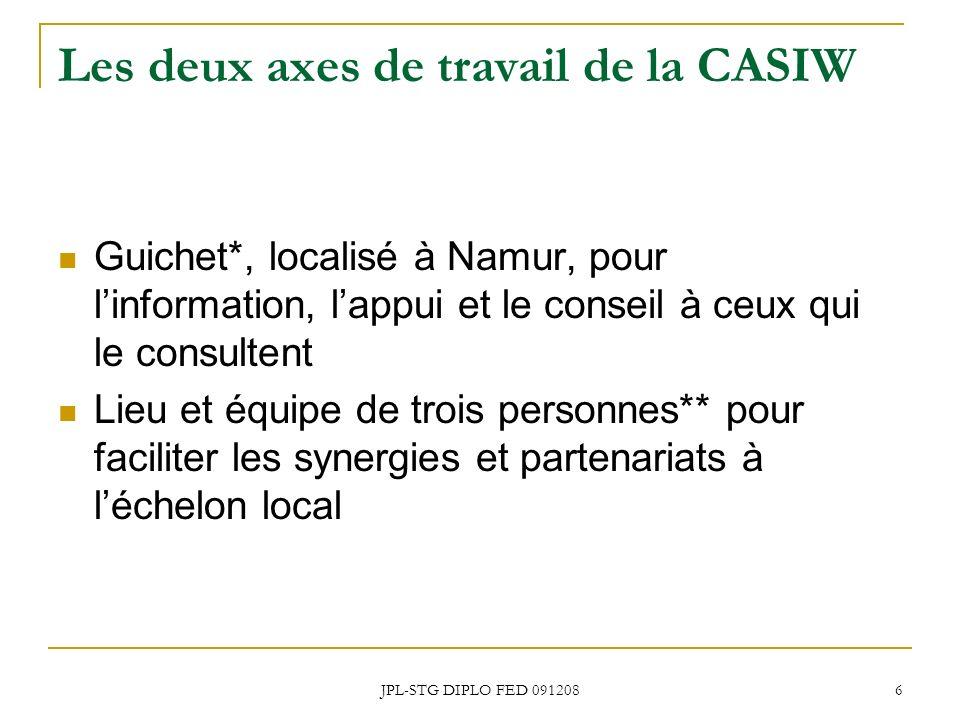 JPL-STG DIPLO FED 091208 6 Les deux axes de travail de la CASIW Guichet*, localisé à Namur, pour linformation, lappui et le conseil à ceux qui le cons