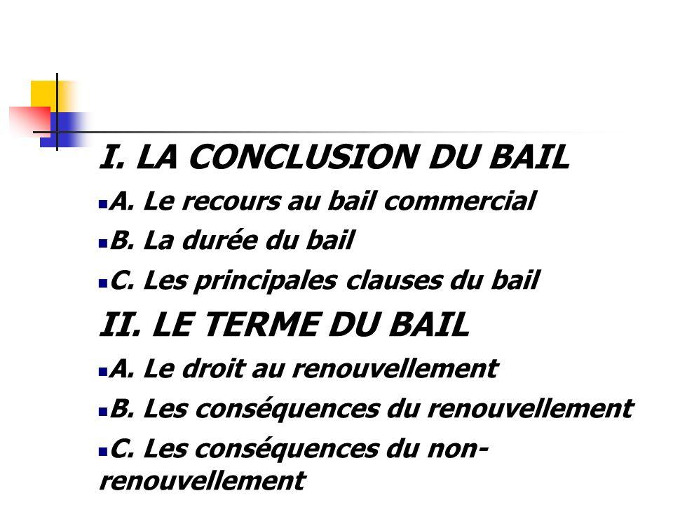 I. LA CONCLUSION DU BAIL A. Le recours au bail commercial B. La durée du bail C. Les principales clauses du bail II. LE TERME DU BAIL A. Le droit au r