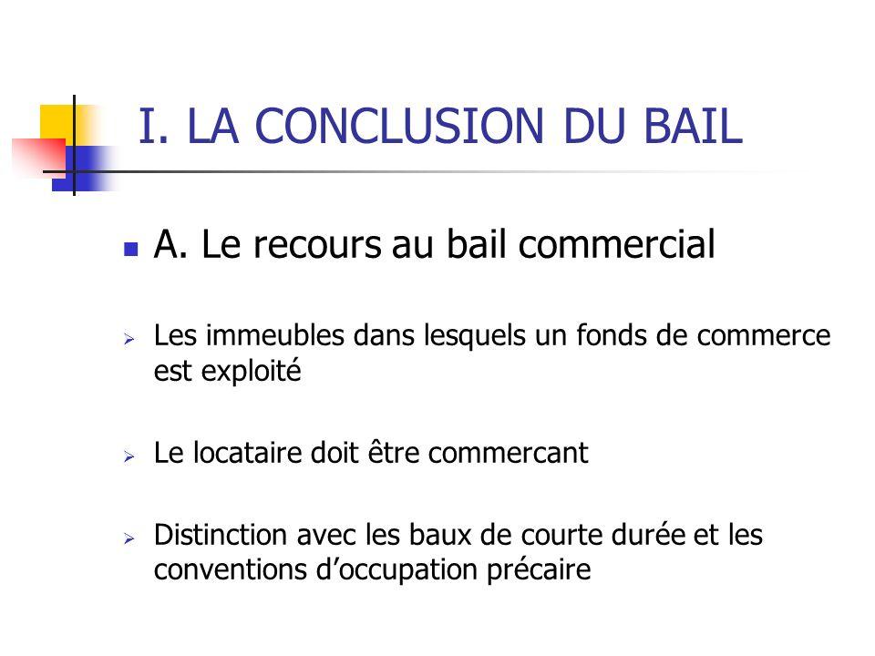 I. LA CONCLUSION DU BAIL A. Le recours au bail commercial Les immeubles dans lesquels un fonds de commerce est exploité Le locataire doit être commerc