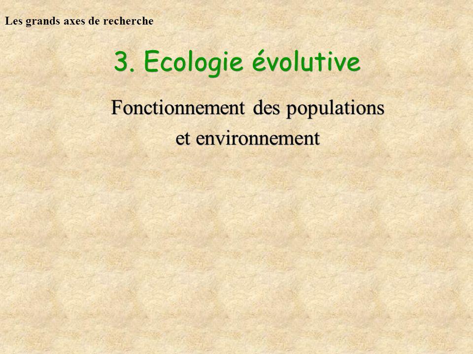 3. Ecologie évolutive Fonctionnement des populations et environnement Fonctionnement des populations et environnement Les grands axes de recherche