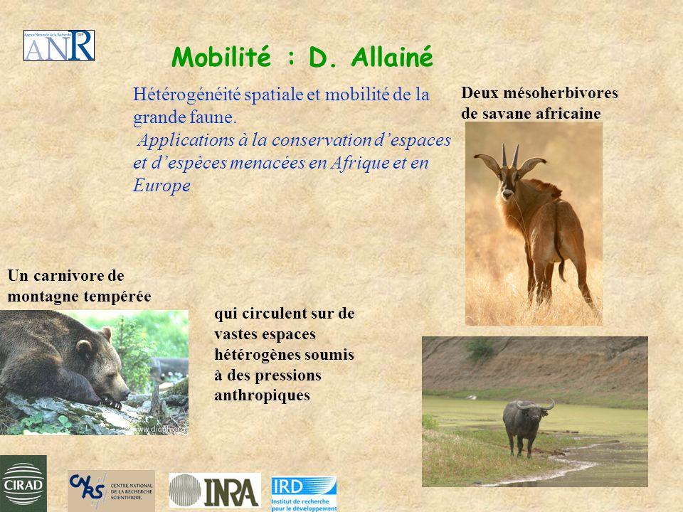 Mobilité : D. Allainé Hétérogénéité spatiale et mobilité de la grande faune. Applications à la conservation despaces et despèces menacées en Afrique e