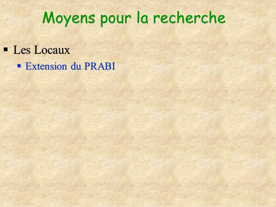 Moyens pour la recherche Les Locaux Extension du PRABI Les Locaux Extension du PRABI
