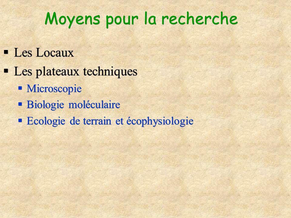 Moyens pour la recherche Les Locaux Les plateaux techniques Microscopie Biologie moléculaire Ecologie de terrain et écophysiologie Les Locaux Les plat