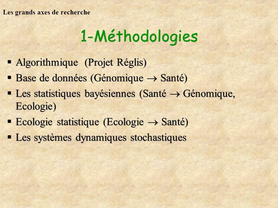 1-Méthodologies Algorithmique (Projet Réglis) Base de données (Génomique Santé) Les statistiques bayésiennes (Santé Génomique, Ecologie) Ecologie stat