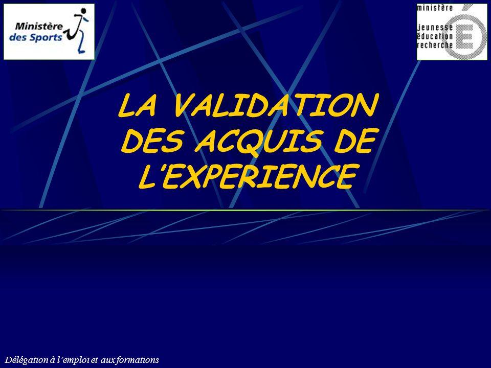 Délégation à lemploi et aux formations 12 LA VALIDATION DES ACQUIS DE LEXPERIENCE Quest-ce que la Validation des Acquis de lExpérience – VAE .
