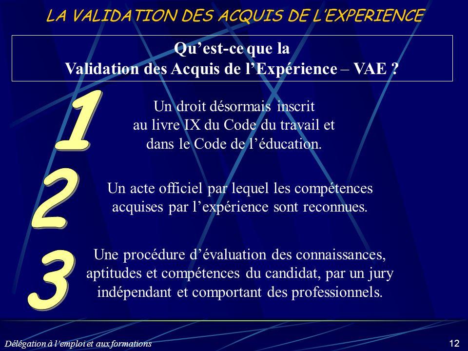 Délégation à lemploi et aux formations 12 LA VALIDATION DES ACQUIS DE LEXPERIENCE Quest-ce que la Validation des Acquis de lExpérience – VAE ? Un droi