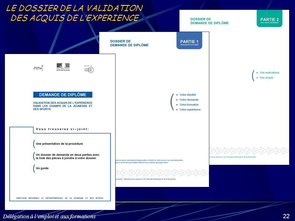 Délégation à lemploi et aux formations 22 LE DOSSIER DE LA VALIDATION DES ACQUIS DE LEXPERIENCE